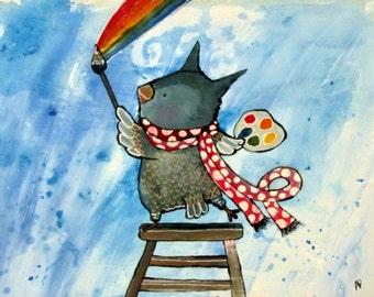 8x10 Print Whimsical Artist Painter Owl Rainbow Woodland Kids Wall Art Nursery Decor, Storybook Children's Art, Children Decor