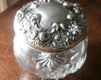 Victorian Crystal Sterling Cotton Jar for Ladies Vanity Circa 1900 or Earlier
