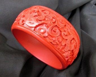 Wide Cinnabar Bangle Bracelet - Hand Carved Vintage Bracelet