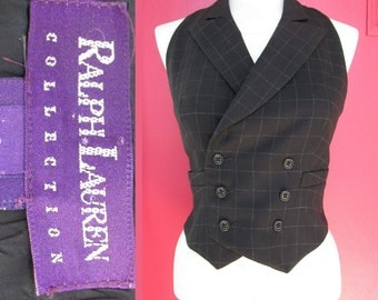 Vintage Ralph Lauren Vest sz 2 Double Breasted Wool Pin Stripe Vest size small