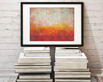 "Abstract Print, 11x14"" Mixed Media Art Print, Contemporary Art Print, Abstract Art, Wall Art, (279x356mm) Red, Orange, Pink, ""Enlightened"""