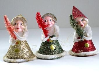 Glitter Christmas Kitsch Ornaments, Trio of Glittered Elves Gnomes, Mid Century Holiday Tree Ornaments, Japan Glitter Elves, SwirlingO11