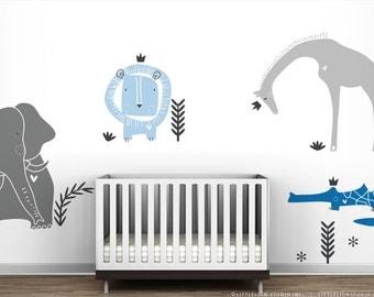 Modern Baby Boy Wall Sticker Royal Safari Wall Decal Mural by LittleLion Studio. London Blue. Nusery Wall Decor Wall Sticker