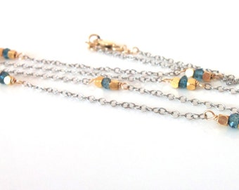 Minimalist Necklace Topaz London Blue Natural Gemstone Mixed Metal Handmade Necklace