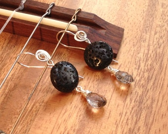 Dangle Earrings, Black Lava and Moss Amethyst, Hand Made forged Recycled Sterling Silver by JeanineDesigns