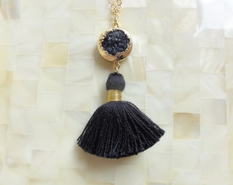 Gold Edge Black Druzy Connector and Black Cotton Tassel on Gold Chain Necklace (N1738)