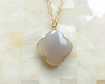 Large Step-Cut Faceted Gray Chalcedony Vermeil Bezel Clover Quatrefoil Pendant on Gold Chain Necklace (N1754)