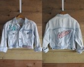 80s LA GEAR Acid Wash Denim Blue Jean Jacket Medium Large