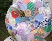 ROUNDIE Vintage Hexie Patchwork Fabric Round Circle Cushion Pillow