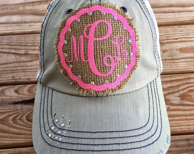 Monogram and Burlap Cap Southern Women's Trucker Hat, Embellished Baseball Caps, Personalized Hat for Women, Custom Bling Girls Southern