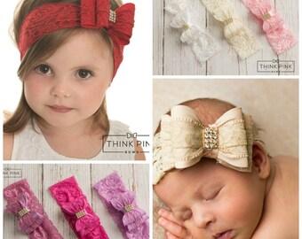 Red baby headband, baby headbands, Christmas headband, Valentines headband, Big bow headband, baby girl headband, White pink  baby headband