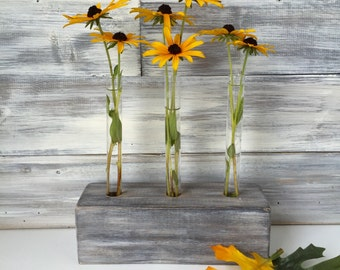 Test tube Flower Vase, Faux barn wood, Bud vase, rustic, gray, hand painted
