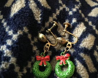 Wreath earrings screwback metal hand-painted/can be converted/no flaws/Christmas