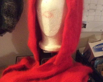 Angora 80%! Rare/hooded scarf angora80 per cent: hard to find/Long/Nwot/soft warm/2 available – – one fuchsia, one red