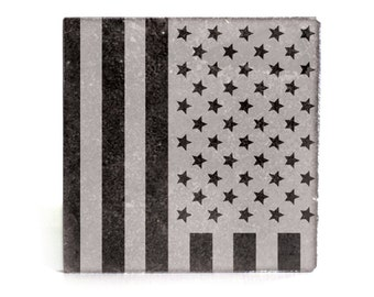 Coasters Set of 4 - black granite laser - 9917 American Flag