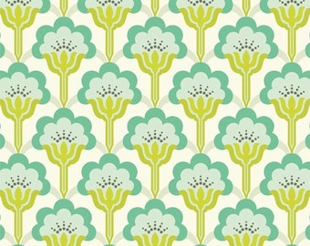 SALE - Pop Blossom Turquoise  (PWTC015) - Heather Bailey TRUE Colors - Free Spirit Fabric  - By the Yard