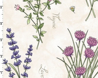 Botanical Herbs (mas-8331)  THYME WITH FRIENDS -  By Kris Lammers for Maywood Studios - By the Yard
