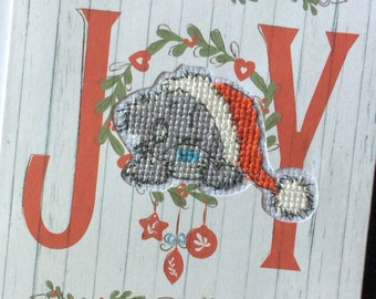 Finished Cross-stitched Card - Tatty Teddy Joy