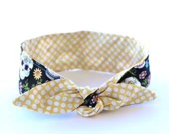 No Wire Dolly Bow Headband Day of the Dead over Yellow Polka Dots Rockabilly PinUp Sugar Skulls Headscarf Top Knot Headband
