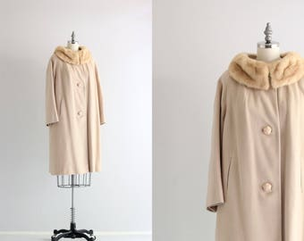 Vintage Cashmere Coat . Fur Collar Coat . Womens Winter Coat