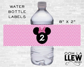 INSTANT DOWNLOAD: Pink Minnie Mouse Drink Label