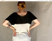 ON SALE Color Block Linen Sweater Hand-knit in Natural and Black