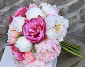 Peony Bridal Bouquet , Wedding bouquet, Silk peony bouquet, Pink and white peony bouquet, Wedding flowers, Bridal bouquet - PERFECTLY PINK.
