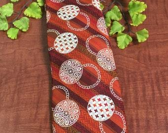Vintage Orange Circles Mens Wide Polyester Necktie -1960's necktie, crazy tie, vintage necktie, orange geometric necktie, orange necktie