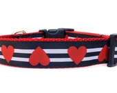 Valentines Dog Collar / Heart Dog Collar / Red Black Dog Collar / Striped Dog Collar / Dog Collar with Hearts / Nylon Webbing Dog Collar