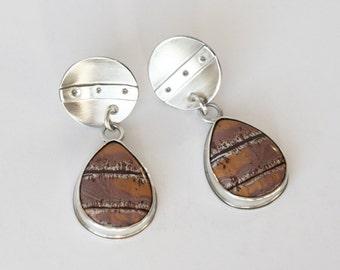 Striking Sonoran Scenic Jasper and Sterling Silver Art Jewelry Drop Dangle Earrings Modern Design
