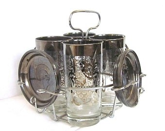 1950s Barware Silver Highball Glasses Coat of Arms Carrier Kimiko Man Gift Mad Men