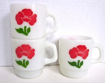 Fire King Milk Glass Mugs Red Poppy Cups Vintage Anchor Hocking Glass Cups Vintage Kitchen