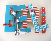 Dr. Seuss Custom Wood Letters - Children's Used Book Pages - Nursery Alphabet Décor - Storybook Name Art - Cat in the Hat Baby Shower Gift