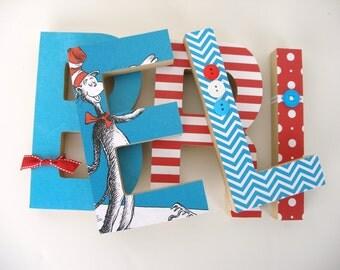 dr seuss custom wood letters childrens used book pages nursery alphabet dcor storybook name art cat in the hat baby shower gift