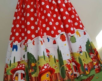 50's style vintage skirt in gnomeville print