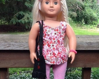 20% OFF - 18 Inch Doll Clothes Summer Flowered Top with Knit Pants and Leather Totebag