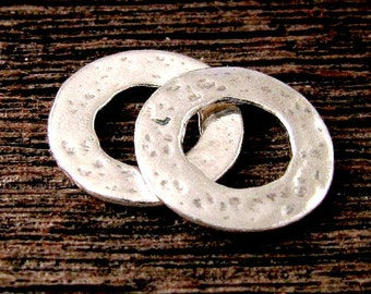Sterling Silver Artisan Links - Hammered Circles - 2 Rustic Connectors Handcrafted  by Lost Wax Carving AP115