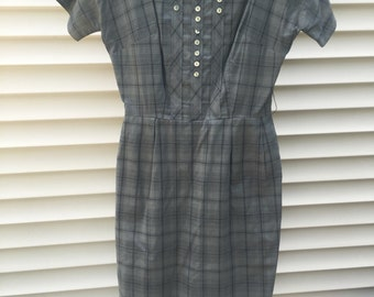 Late 1950s - Early 1960s Gray Plaid Wiggle Dress