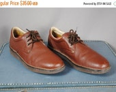 CLEARENCE 80% OFF Men's Vintage BROWN Leather Casual Shoes with Vibram Sole. Size 14 (Euro 48.5)