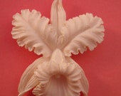 Orchid brooch in feather weight or bubblelite plastic + frog pin+ fan pin