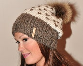 Fair Isle Slouchy Hat Two Tone Pompom Beanie Chunky Women Hat Winter Hat CHOOSE COLORS Ivory Beige Brown Chunky Knit Hat Christmas Gift