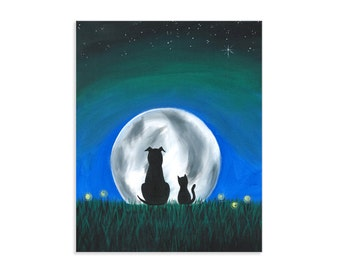 Cat and Dog Best Friends ~ By the Light of the Moon