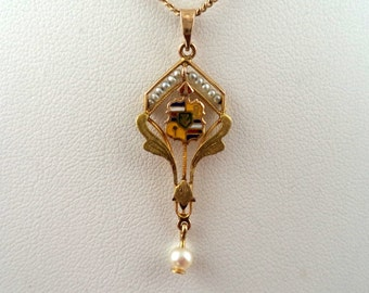 Antique Vintage Signed 10K Seed Pearl Lavalier Pendant and 10K Chain Necklace Solid 10K Yellow Gold