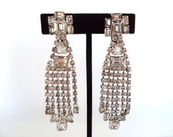 Long Dangling Crystal Rhinestone Earrings