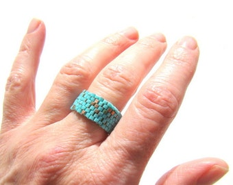 Turquoise and Gold Seed Bead Ring Brickwork Style  Beaded Ring  Beadwoven Ring  Mens Ring  Men's Turquoise Band  Unisex Jewelry - RG00631