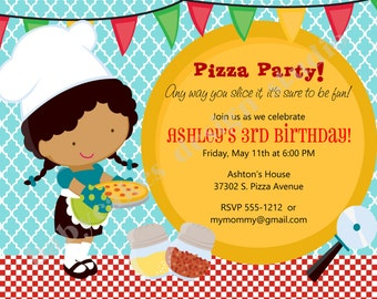 Girl Pizza Party Birthday Invitation Invite Pizza Party invitation Pizza Chef african american printable diy digital