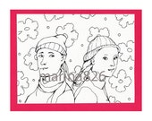Valentine's Card coloring- Braids -Love You Together drawing people gift paper