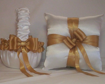 White Satin With Gold  Ribbon Trim Flower Girl Basket And Ring Bearer Pillow Set 4