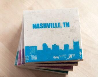 City Skyline Coaster Set with City Name (Custom Colors) Cityscape Stone Coasters