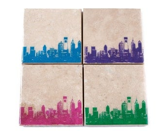 Philadelphia Skyline Coaster Set (4 Stone Coasters, Pink, Blue, Green, & Purple) Philly Cityscape Home Decor